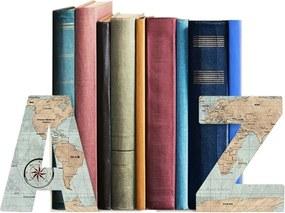 Suporte Aparador De Livro Dvd Cds - AZ Mapa Mundi Vintage