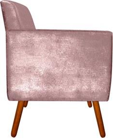 Poltrona Decorativa Josy Acetinado Rose Pés Palito - D'Rossi