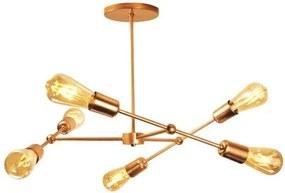 Luminária Sputnik Marden Industrial 6 hastes Assimetrico Soq: E27 | Cor: Cobre | Tam: 30cm | Mod: Sputnik Marden
