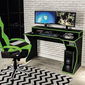 Mesa Para PC Gamer Fremont Politorno Preto Verde Branco/Malachite