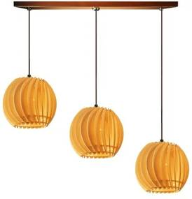 Pendente trio triplo de madeira | Canopla Retangular | 21x19cm | Soq: E-27 | Marfim | Mod: Tulipa