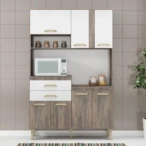 Cozinha Compacta Dora 7 Portas e 2 Gavetas Cd09 Naturalle/Branco - Fellicci