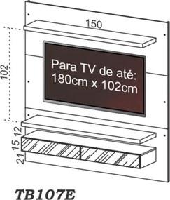 Painel Bancada Suspensa para TV até 60 Pol. TB107E Fendi - Dalla Costa