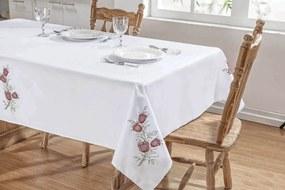 Toalha De Mesa Guga Tapetes Primavera 2,50X1,40 Branco/Vermelho