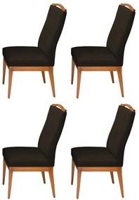 Conjunto 4 Cadeiras Decorativa Lara  Veludo Marrom