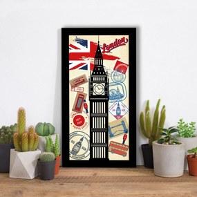 Quadro Alto Relevo Londres Big Bang Selo Correios Colorido40x75cm