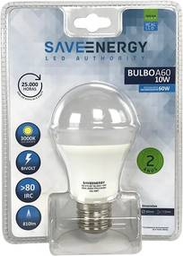 Lâmpada de Led Bulbo E27 10W 3000K - Save Energy - Bivolt