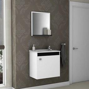 Conjunto Banheiro Rewes Suspenso C/ Cuba E Espelho Branco / Preto