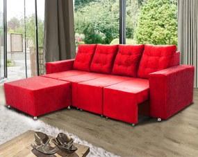 Sofá Retrátil Portinari 2,60 Mts Assentos Retráteis + Puff, Tecido Suede Vermelho - Moveis Marfim