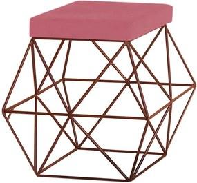 Puff Decorativo Sala de Estar Base Bronze Trixie Suede Rosa - Gran Belo