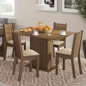 Conjunto Sala de Jantar Lexy Madesa Mesa Tampo de Madeira com 4 Cadeiras Rustic/Pérola Cor:Rustic/Pérola