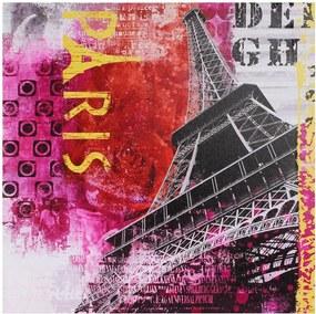 Tela Impressa Eiffel Vermelho e Rosa Fullway - 50x50 cm