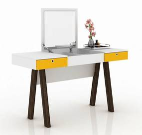 Penteadeira Escrivaninha PE2002 Branco/Amarelo - Tecno Mobili