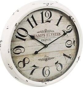 Relógio de Parede Champs Elysees France Branco em Ferro - 52x52 cm