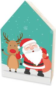 Totem Home de Madeira Natalino Papai Noel e Rena Estilo Infantil Único