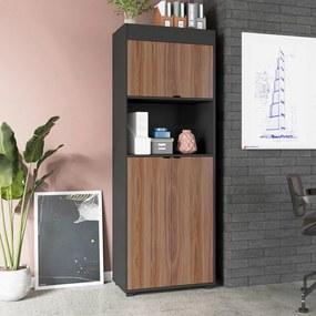 Armário Preto com castanho 3 Portas 3 Prateleiras Office - BRV Móveis
