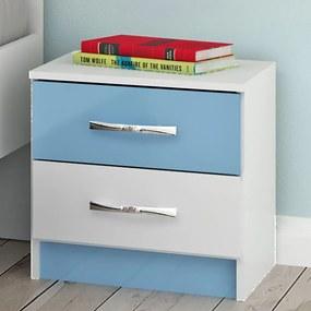 Criado-mudo Infantil 2 Gavetas If02az Azul/Branco - Evidência Móveis