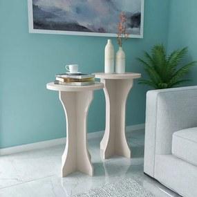 Kit mesa de Apoio Luck 2 Peças Artely Off White