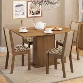 Conjunto Sala de Jantar Madesa Talita Mesa Tampo de Madeira com 4 Cadeiras Rustic/Crema/Bege Marrom Cor:Rustic/Crema/Bege Marrom