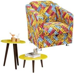 Poltrona Decorativa com Mesa de Centro e Lateral Lymdecor Laura Amarelo