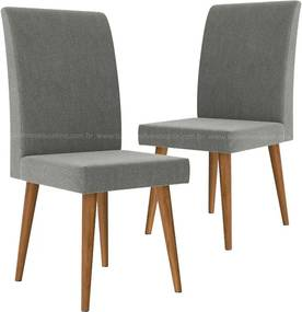Cadeira Para Sala De Jantar Retrô Jade Rv Móveis (2 Unidades) - Cinza