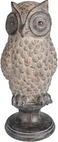 escultura coruja JULIETA resina bege 15cm Ilunato QC0328