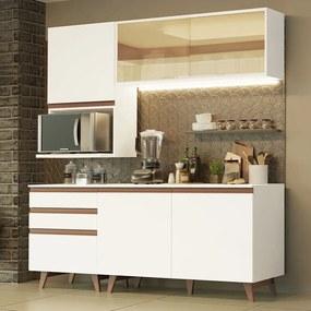 Cozinha Completa Madesa Reims 180002 com Armário e Balcão Branco Cor:Branco