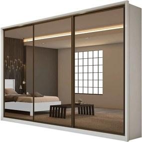 Guarda Roupa Casal com Espelho 3 Portas 6 Gavetas Spazio Super Glass Bege