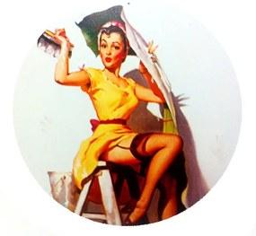 Placa Pin Up Girl Pintora Redonda