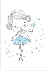 Placa Decorativa Quarto de Menina Fada Azul 20x30cm