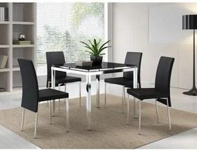 Conjunto Mesa com 4 Cadeiras em Aço Carraro - Vidro Preto - Cromado/Preto