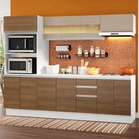 Cozinha Completa 100% MDF Madesa Smart 250 cm Modulada Com Balcão e Tampo Branco/Rustic/Crema Cor:Branco/Rustic/Crema