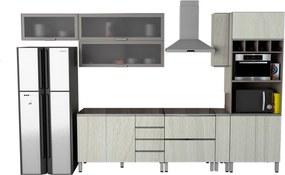 Conjunto Cozinha Completa Cleto 3,60m S/ Tampo C/ 10 Portas Malbec /