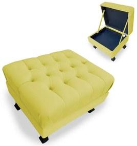Puff Baú Decorativo Luis XV  Capitonê 60x50cm Suede Amarelo - Sheep Estofados - Amarelo