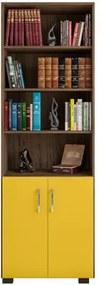 Estante Livreiro Portas Pequenas 6 Prateleiras Office Avelã/Amarelo - Móveis Leão