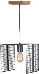 Luminaria Pendente Kant Caixa Multilaminada cor Preto 42cm (LARG) - 54130 Sun House