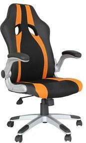 Cadeira Gamer Olzer em Couro Poliuretano - Preto/Laranja