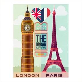 Placa Decorativa London/Paris Média em Metal - 30x20 cm
