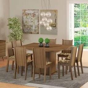 Conjunto Sala de Jantar Madesa Clarice Mesa Tampo de Madeira com 8 Cadeiras Rustic/Bege Marrom Cor:Rustic/Bege Marrom