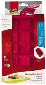 Forma de Silicone Vermelha para Gelo Euro Home