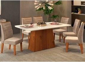 Mesa de Jantar Paris Canto Curvo 170cm Rústico Terrara Off White + 6 Cadeiras Curvata Veludo Kraft