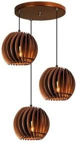 Pendente trio triplo de madeira | Canopla Redonda | 21x19cm | Soq: E-27 | Chocolate | Mod: Tulipa