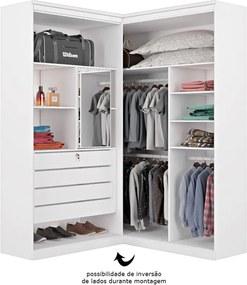Guarda-roupa Alencastre de Canto C/ Portas 100% MDF Branco Acetinado