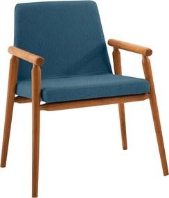 Cadeira Fernandes Estofada C/ Braços Linho Azul / Tauari