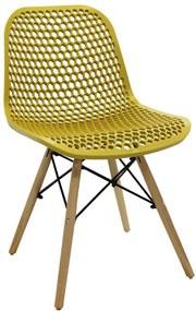 Cadeira Decorativa Sala e Cozinha Haney (PP) Amarela Ocre - Gran Belo