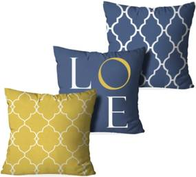 Kit 3 Capas Love Decor para Almofadas Decorativas Love Amarelo