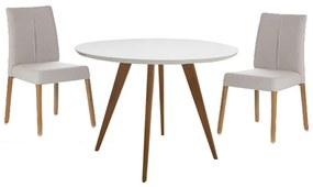 Conjunto Mesa Square Redonda Branco Fosco 80cm + 2 Cadeiras Zaar Bege