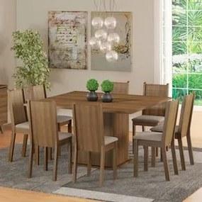 Conjunto Sala de Jantar Madesa Clarice Mesa Tampo de Madeira com 8 Cadeiras Rustic/Pérola Cor:Rustic/Pérola
