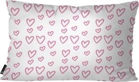 Almofada Retangular Corações Branco30x50cm