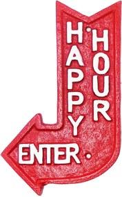 Placa De Ferro Decorando Com Classe Vermelha Happy Hour
